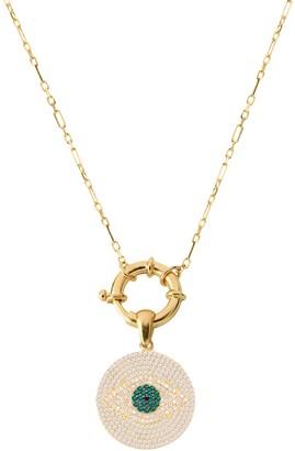 GABIRIELLE JEWELRY 22K Gold Vermeil, White & Green Crystal Evil Eye Pendant Necklace