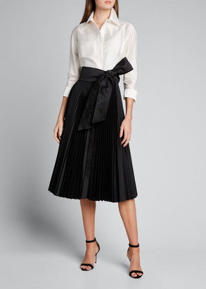 Rickie Freeman For Teri Jon Two-Tone Taffeta Shirtdress w/ Pleated Skirt