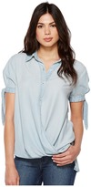 Blank NYC Denim Collard Shirt with Drape Detail in Oh Behave Women's Clothing
