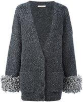 Christopher Kane oversized cuff cardigan - women - Polyamide/Spandex/Elastane/Acetate/Alpaca - S