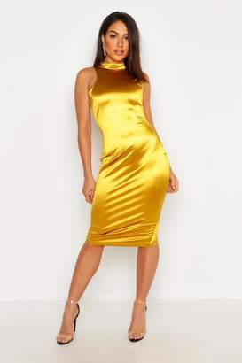 boohoo High Neck Stretch Satin Midi Dress