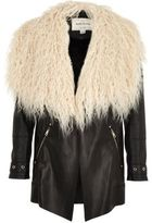 River Island Girls black Mongolian faux fur collar jacket