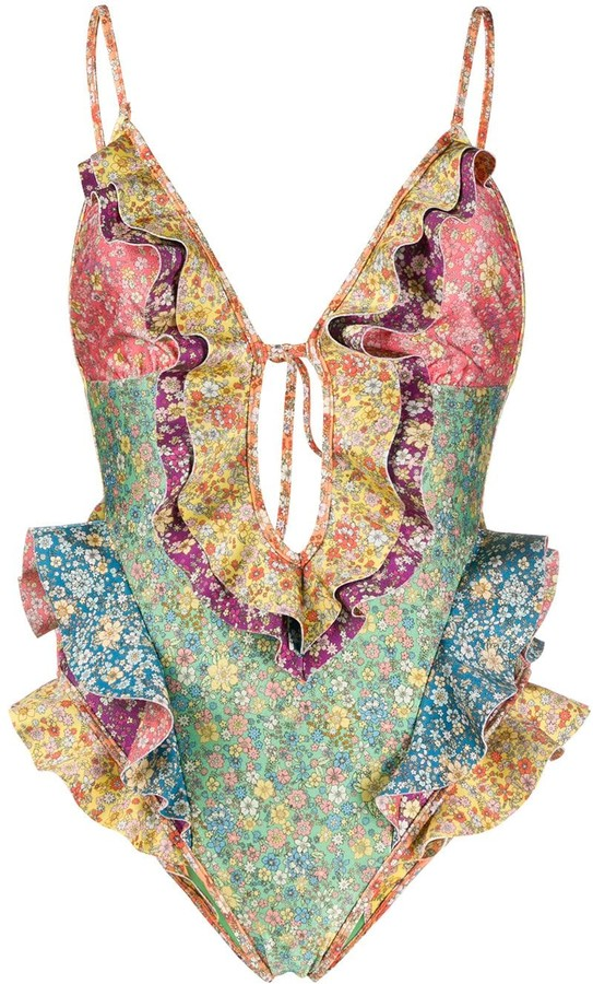Zimmermann Ruffled Floral-Print Swimsuit