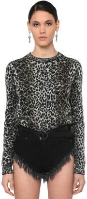 Saint Laurent Leopard Intarsia Wool Knit Sweater