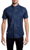 7 Diamonds Men's 'Waves Of Nature' Trim Fit Short Sleeve Print Woven Shirt