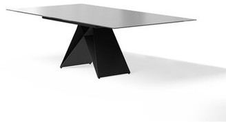 Latitude Run Amabilia Extendable Dining Table Base Color: Black, Top Color: Gray