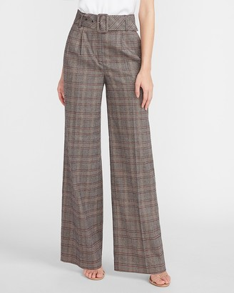 Express High Waisted Plaid Belted Wide Leg Pant