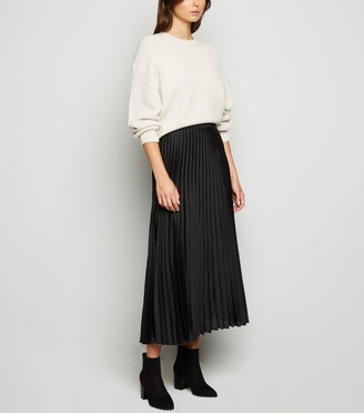 New Look Tall Satin Pleated Midi Skirt