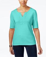 Karen Scott Cotton Split-Neck T-Shirt, Only at Macy's