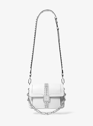Michael Kors Crawford Studded Leather Crossbody Bag - Optic White