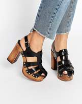 Asos OKLAHOMA Leather Heeled Clogs