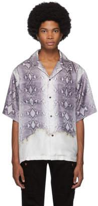 Amiri Grey Python Short Sleeve Button Up Shirt