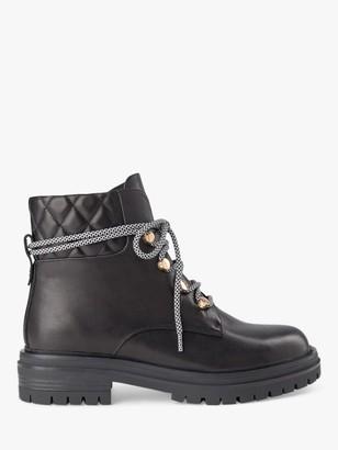 Shoe The Bear Franka Leather Lace Up Biker Boots, Black
