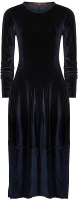 High At Length Navy Stretch-velvet Midi Dress
