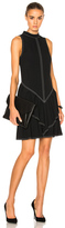 Wes Gordon Rock Neck Ruffle Dress in Black.
