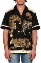 Dolce & Gabbana Leopard-Print Short-Sleeve Bowling Shirt