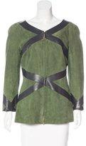 Salvatore Ferragamo Suede Leather-Trimmed Jacket