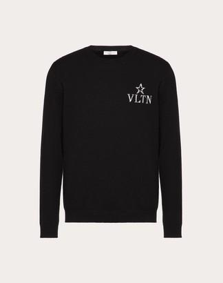 Valentino Vltnstar Crew-neck Sweater Man Black Virgin Wool 70%, Cashmere 30% L