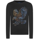 Paul & Joe Boys Black Long Sleeve Embroidered Eagle Top