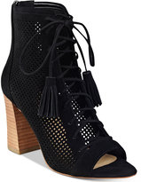 Marc Fisher Shaini Perforated Lace-Up Peep-Toe Booties Women's Shoes