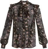 Preen by Thornton Bregazzi Billy tie-neck floral-devoré silk-blend blouse