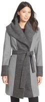 Calvin Klein Women's Boucle Trim Hooded Wrap Coat
