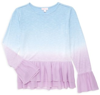 Design History Little Girl's & Girl's Ruffle Ombre Top