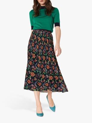 LK Bennett Avery Floral Print Pleated Midi Skirt, Midnight