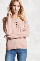 Forever 21 FOREVER 21+ Lace-Up Purl Sweater