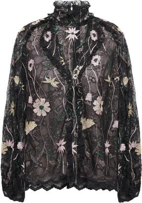 Giambattista Valli Ruffled Embroidered Lace Blouse