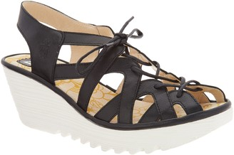 Fly London Leather Lace Up Wedge Sandals - Yapi