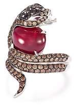 Stephen Webster 'Burma' diamond ruby 18k white gold snake ring