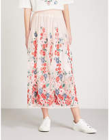 Maje Jamie floral-embroidered tulle midi skirt