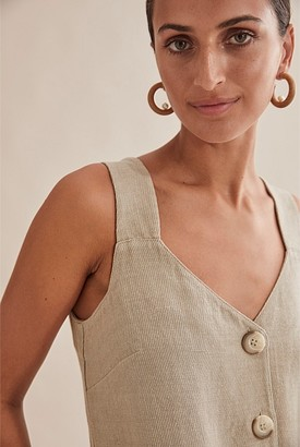 Country Road Twill Linen Button Dress