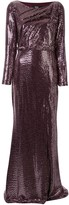 Badgley Mischka sequinned cut-out back gown