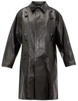 Raf Simons Oversized Ring-embellished Leather Coat - Womens - Black