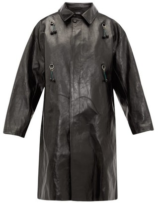 Raf Simons Oversized Ring-embellished Leather Coat - Womens - Black