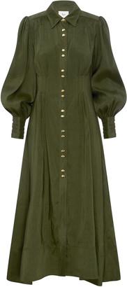 Aje Oxidized Pleated Linen-Silk Shirt Dress