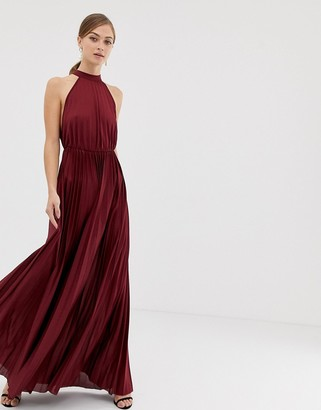 Asos Design DESIGN halter pleated waisted maxi dress-Red
