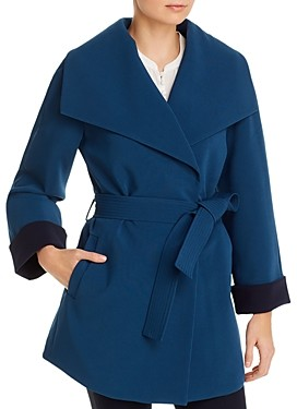 T Tahari Riley Crepe Draped Coat