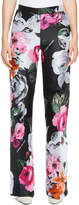 Off-White Wide-Leg Floral-Jacquard Pants