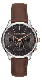 Michael Kors Sutter Stainless Steel & Leather Strap Chronograph Watch