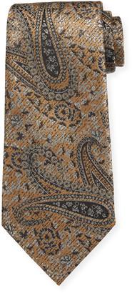 Ermenegildo Zegna Woven Paisley Silk Tie, Gold