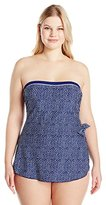 Maxine Of Hollywood Women's Plus-Size Ditzy Dot Bandeau Sarong Swimsuit