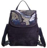 Maiyet Lamu Raffia-Embroidered Suede Mini Backpack