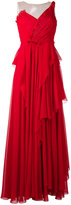 Alberta Ferretti draped net-insert gown - women - Silk/Polyamide/Acetate/other fibers - 44