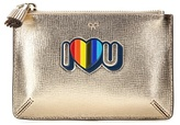 Anya Hindmarch I Love You Small Loose Pocket Metallic Leather Pouch