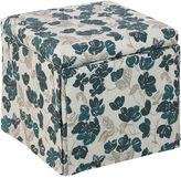 Skyline Furniture Anne Skirted Ottoman, Bloom Turquoise