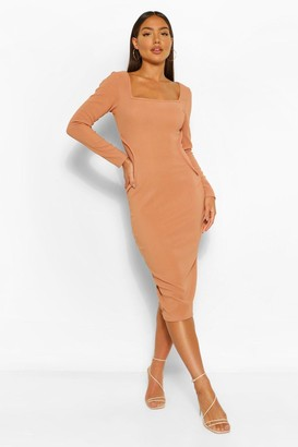 boohoo Bandage Rib Seam Detail Long Sleeve Midi Dress