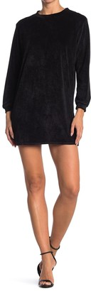 CENY Crew Neck Long Sleeve Velour T-Shirt Dress